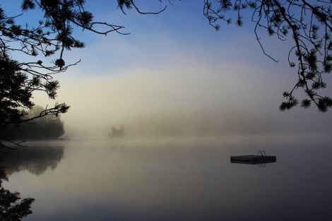Misty Morning on Devil Lake